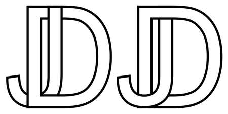 jd dj icon sign two interlaced letters J D, vector jd dj first capital letters pattern alphabet j d