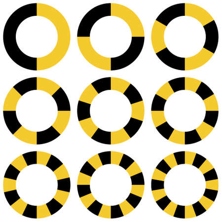 circle yellow and black sectors vector safety stripe warning, circle warns caution design. warn caution border, stripe safety warning ring Illusztráció