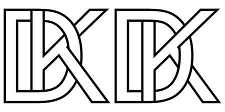 Dk and kd icon sign two interlaced letters D k, vector  dk kd first capital letters pattern alphabet d k