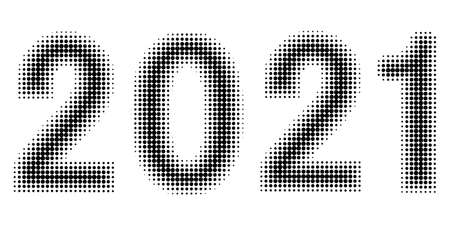 2021 new year Christmas figures date halftone style vector 2021 halftone effect numbers Dotted font