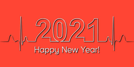Medical Christmas banner, 2021 happy new year, vector 2021 health medical style heartbeat, concept healthy lifestyle, 3D effect shadow, fitness life Illusztráció