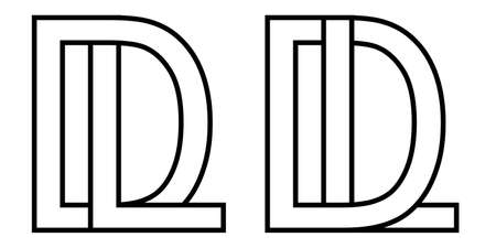 Logo ld dl icon sign two interlaced letters L D, vector logo ld dl first capital letters pattern alphabet l d