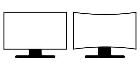 flat and curved screen monitor icon, vector sign symbol curved and flat screen monitor with different matrix