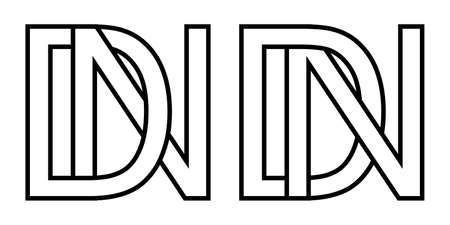 Logo nd and dn icon sign two interlaced letters D N, vector logo nd dn first capital letters pattern alphabet n d