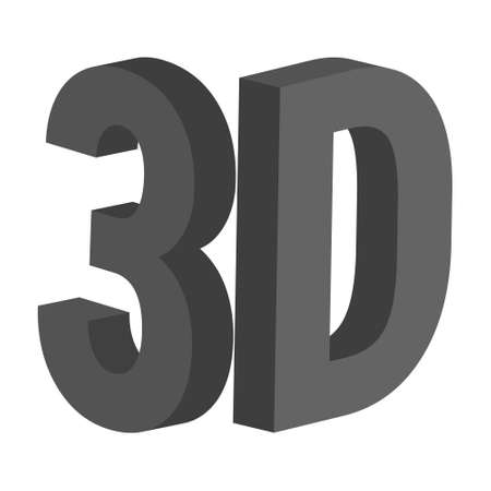 3d letters 3, d, vector icon symbol 3d three dimensional letter number 3, d