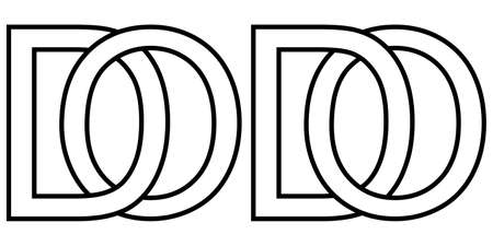 Logo od do icon sign two interlaced letters O D, vector logo od do first capital letters pattern alphabet o d
