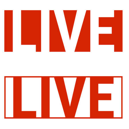 live stream icon social networks, red letters inform about the live stream