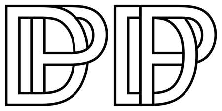Pd dp icon sign two interlaced letters P D, vector  pd dp first capital letters pattern alphabet p d