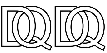 Logo qd dq icon sign two interlaced letters Q D, vector logo qd dq first capital letters pattern alphabet q d Illusztráció