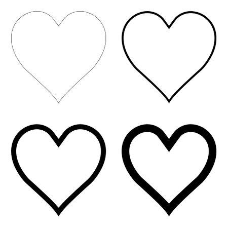 Like heart symbol icon contour, outline . Live webcast webinar, chat. Vector social network black graceful heart web button