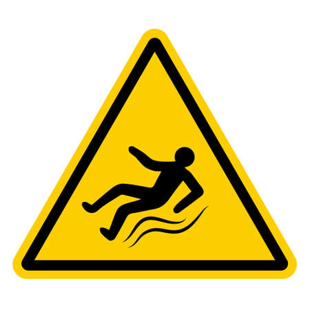 Yellow warning sign with a falling slipping person, vector sign of ice, slippery road, hazard warnings to be injured on slippery sidewalk