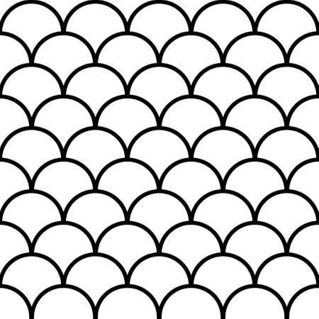 Seamless fish scale background, paving tiles, vector pattern shape paving tiles rows circles