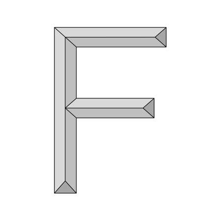 three dimensional letter f, vector capital first letter alphabet f   icon design template elements