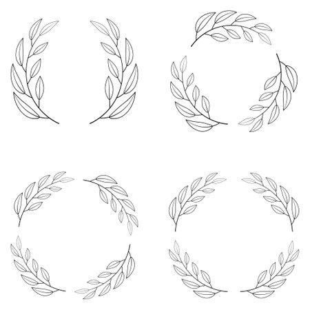 Set of borders photo frame circle Laurel wreath. Decorative elements vector Laurel wreath winner Illustration