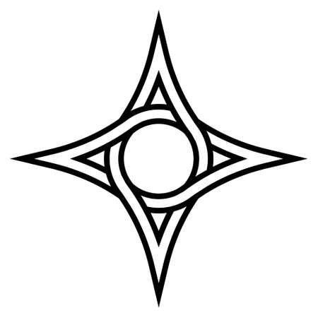 Geometric   four pointed star with a circle inside, vector symbol of the circulation funds, sign of interweaving
