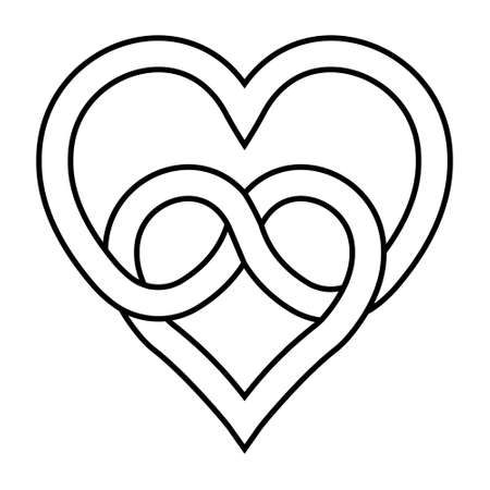 knot two hearts symbol of eternal love, vector sign of infinite love knot of intertwined hearts