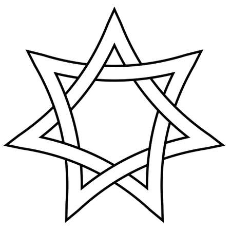 seven pointed star with braided sides, vector star david weave icon in outline style  イラスト・ベクター素材
