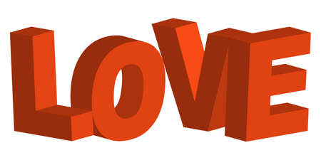 3D letters in the word love the concept of Valentine day vector isometric 3D love concept Ilustracja