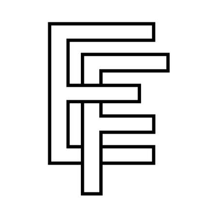 sign ef fe icon sign interlaced letters F, E vector   ef, fe first capital letters pattern alphabet e, f