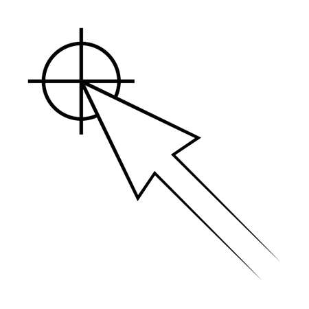 Icon the pointer target vector cursor arrow in the centre of the concept of sign accuracy, symbol of the center of the target