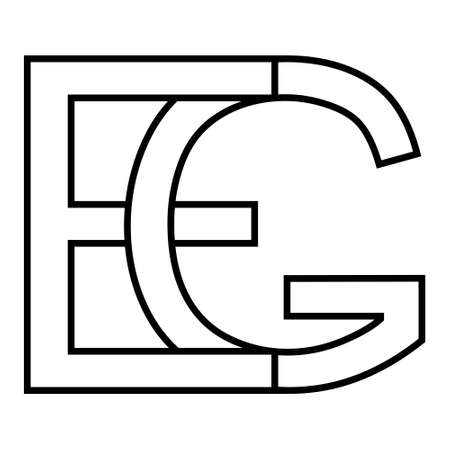 Logo sign eg and ge icon sign interlaced letters G, E vector logo eg, ge first capital letters pattern alphabet e, g 矢量图像