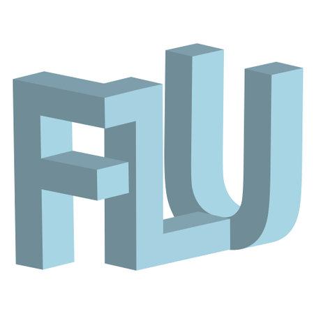 Flu 3d letters vector sign flu respiratory disease 3d 矢量图像