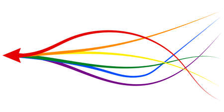 arrow formed by multiple merging lgbt pride colourful lines white background. Partnership, merger, alliance and integration concept