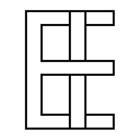 Logo sign ei and ie icon sign interlaced letters I, E vector logo ei, ie first capital letters pattern alphabet e, i