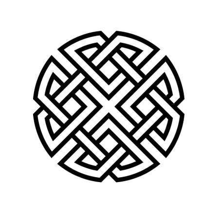 round celtic knot ethno pattern, vector weave knitted lines stripes knot health development and good luck