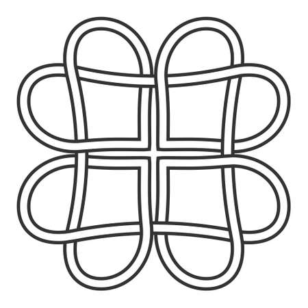 celtic knot of hearts pattern, vector knot hearts symbol of eternal love tattoo Ilustração
