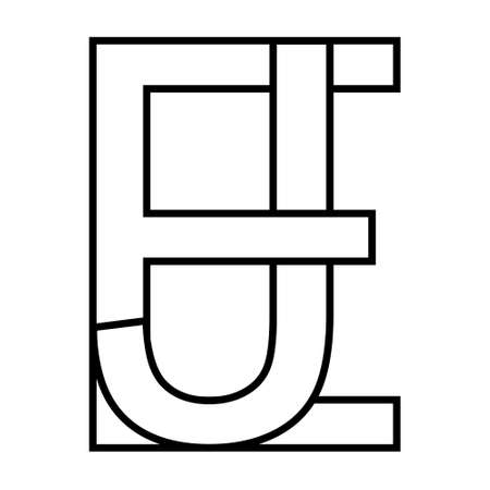 Logo sign ej and je icon sign interlaced letters J, E vector logo ej, je first capital letters pattern alphabet e, j 矢量图像