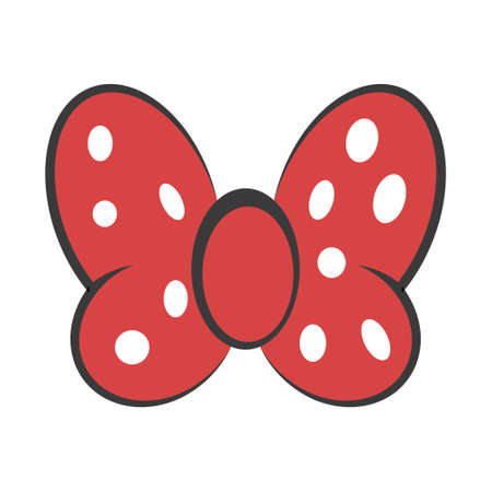 Bow red butterfly, vector hair decoration meme red bow white dot polka