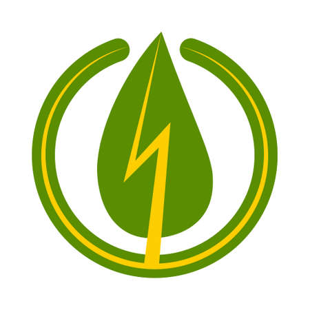Green energy sign icon, vector green leaf with a lightning bolt in a circle symbol of renewable environmentally friendly energy