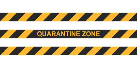 Danger tape quarantine zone. Warning tape fencing. Black and yellow vector diagonal stripes. Epidemic covid-19 orange tape quarantine zone inscription