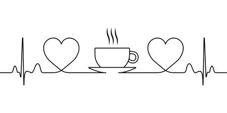 sign of love for coffee and tea, a symbol of tea drinking, a vector icon with a single line hearts and a hot cup with steam