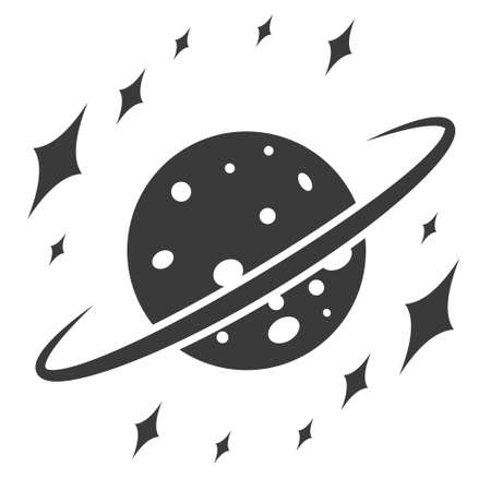 Cosmic landscape, planet with ring and stars, vector icon space sign star planet universe Иллюстрация
