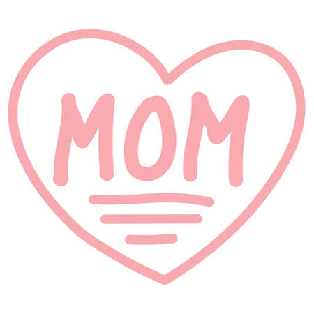 Icon sign I love mom, vector red heart and word mom drawn by the child hand Иллюстрация