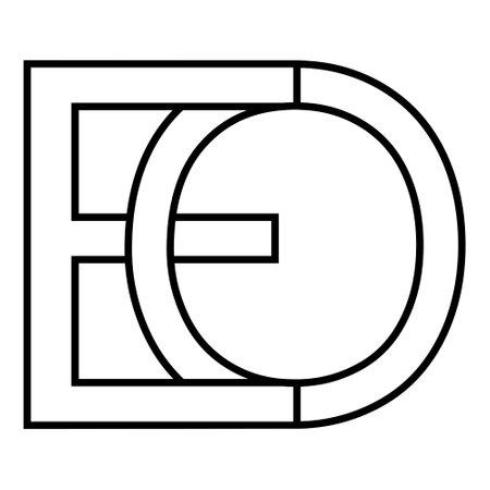 Logo sign eo oe icon sign interlaced letters O, E vector logo eo, oe first capital letters pattern alphabet e, o