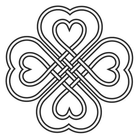 Celtic heart knot in the shape of a clover leaf bringing good luck and love vector knitted heart knot