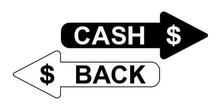 Black and white arrows cashback icon, simple check for foreign financial investments cashback flat vector icon design