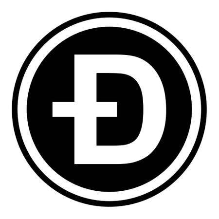 Token symbol of the dogecoin cryptocurrency, vector round token coin dogecoin token promising cryptocurrency