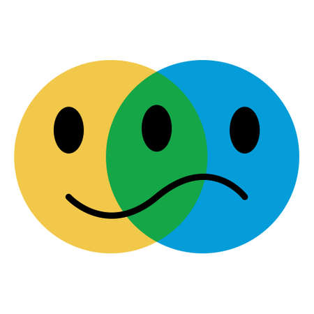 icon emoticon concept of emotions, joy and sadness, vector symbol of the emotional state person, fun and longing
