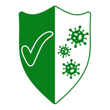 sign of protection from viruses, shield with a green tick and bacterial viruses coronavirus, vector immunity antibody protection against disease, prevention flu Ilustração