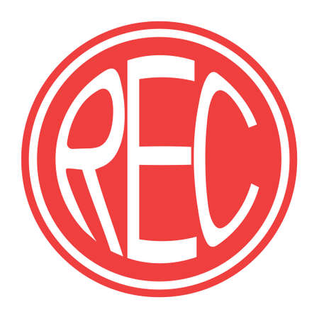 Round red icon rec button vector record button with text rec 矢量图像