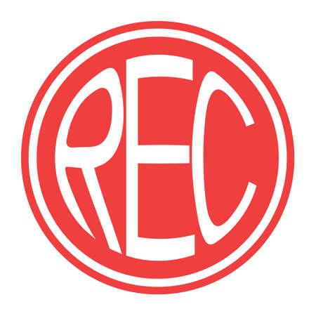 Round red icon rec button vector record button with text rec Ilustração