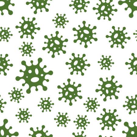 Seamless background virus molecules bacteria coronavirus, vector seamless green molecules virus medical background pattern Ilustração