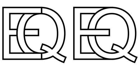 Logo sign eq qe icon sign interlaced letters Q, E vector logo eq, qe first capital letters pattern alphabet e, q