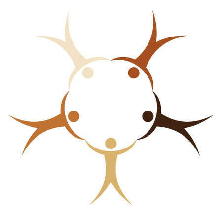 People different races in a circle holding hands, vector concept symbol friendship nations peoples of the world, sign peace and unification of nations