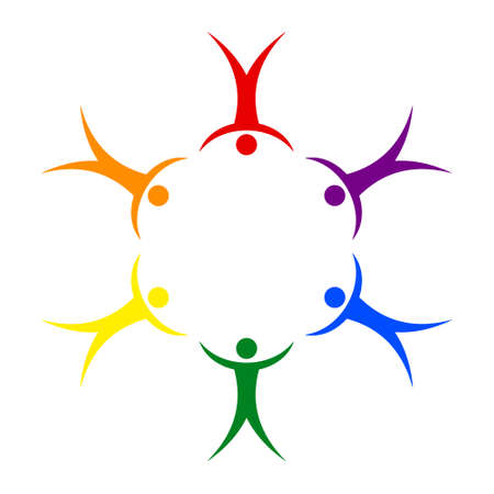 LGBT pride people in a circle holding hands symbol of sexual freedom in relationships, vector sign gay pride and love for each other Ilustração