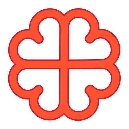 red cross of love from hearts, vector four hearts form flower symbol eternal love and loyalty